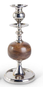 Candleholder Wood Polished Silver Small 17""