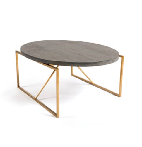 Coffee Table Oval Wood Top Gold Metal Base