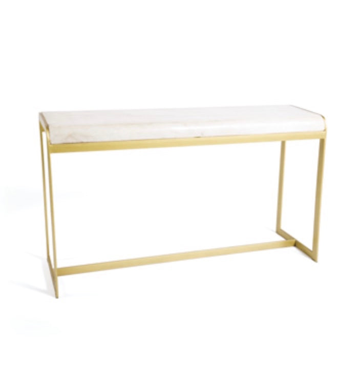 Console Table White Marble Gold Metal Base