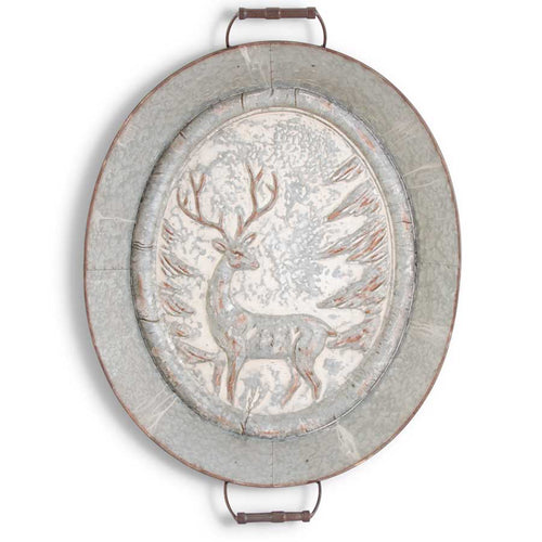 "Wall Art Metal Embossed Deer Tray 32"" KK"