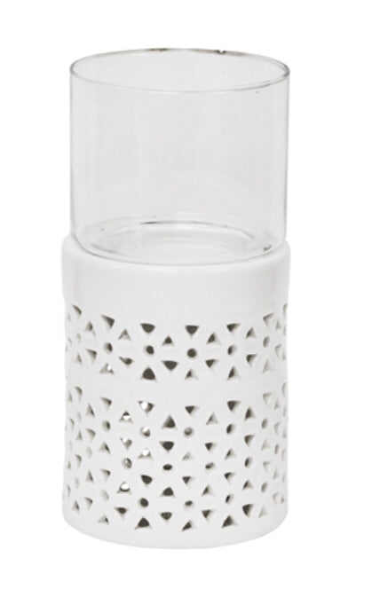 Candle Holder Pierced White Sm