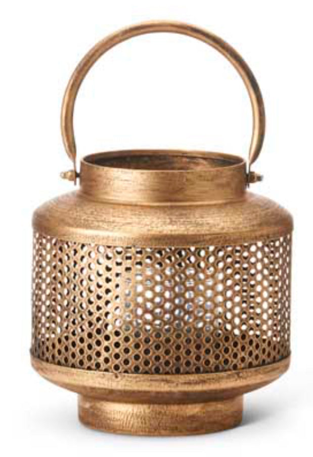 Lantern Gold Mesh Metal With Glass Small