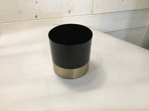 Vases Black Matte Metal Gold Rim Small 5.25