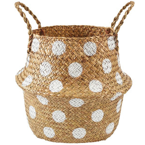 Basket Natural Collapsible White Polka-Dot