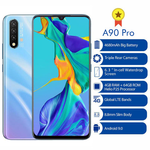 "A90 Pro 6.3"" Smartphone 4GB 64GB Octa Core Android 9.0 4G LTE Mobile Phone Triple Rear Cameras Global Version 4680mAh"