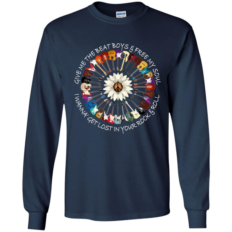 Give Me The Beat Boys And Free My Soul Flower Guitars Black Long Sleeve Apparel CustomCat G240 Gildan LS Ultra Cotton T-Shirt Navy S