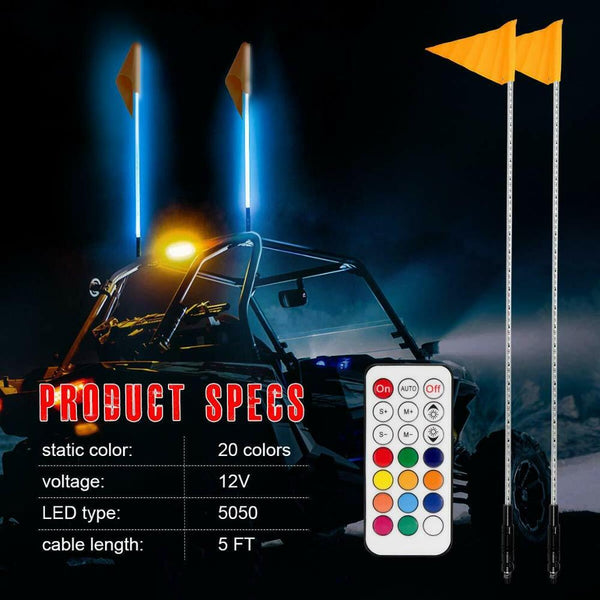 ATV UTV Pair 5ft Auto Color Changing LED Whips Light Flag for Polaris RZR SXS for Jeep Trucks Dunes 4 Wheel