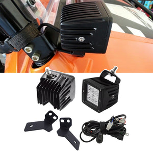 A-pillar Mounting Brackets with 3 intches 18W LED Spot Light Pods and Wiring Kit Fit For Polaris RZR 900 2012-2014 Model