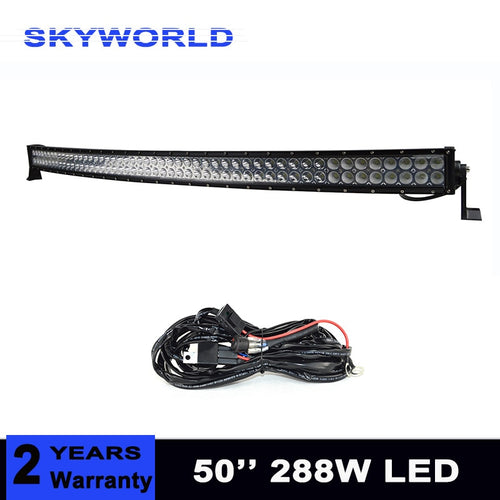 50 inch 288W Curved LED Light Bar Off road Car ATV Tractor Offroad 9-32V Combo Vehicle Lightbar 4x4 4WD