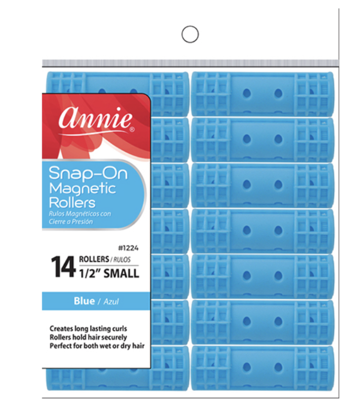 Annie Snap-On Magnetic Rollers 14 CT Small 1/2 Blue