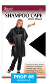 Annie Shampoo Cape Black Velcro Closure #3913