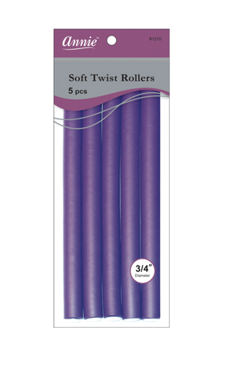 "Annie Soft Twist Rollers 5 CT 10"" 3/4 Purple"