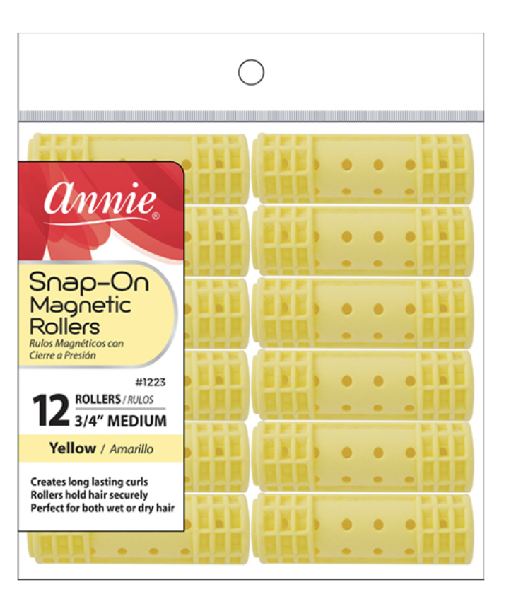 Annie Snap On Magnetic Rollers  12 CT Medium 34 Yellow