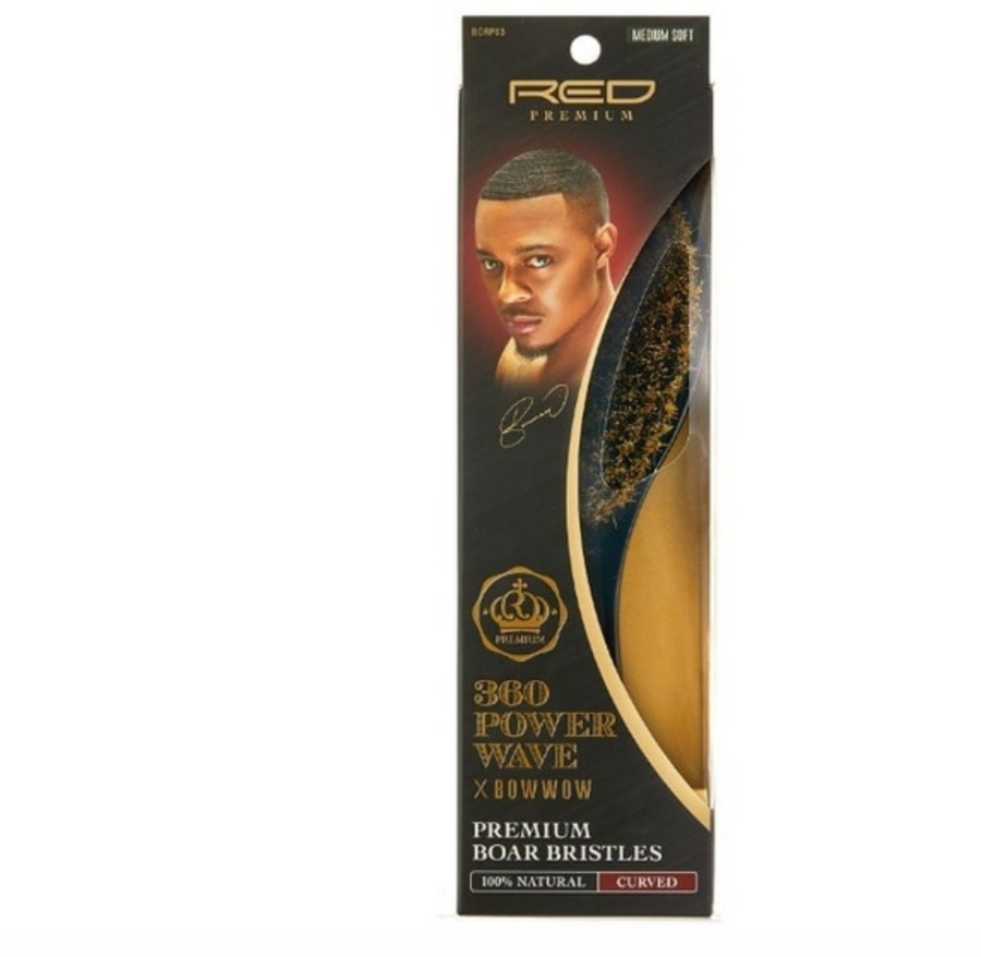 RED Premium | 360 Power Wave X Bow Wow Brush  (Medium Soft)  Curved WAVE #BORP03