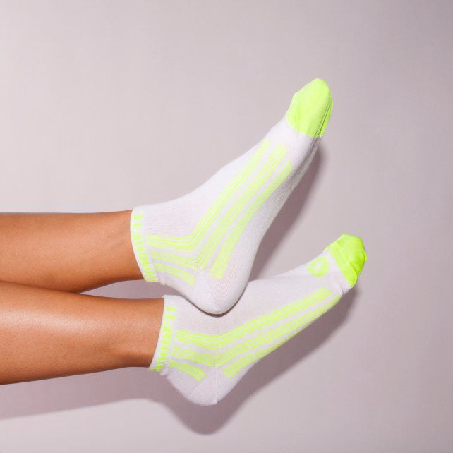 TANGOTEK II SOCKS, WHITE/NEON YELLOW