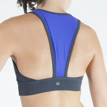 Load image into Gallery viewer, LIVELY II SPORTS BRA, CHARCOAL/BLUE