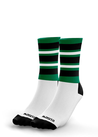 Green/Black/White Hooped Midi Socks Kids
