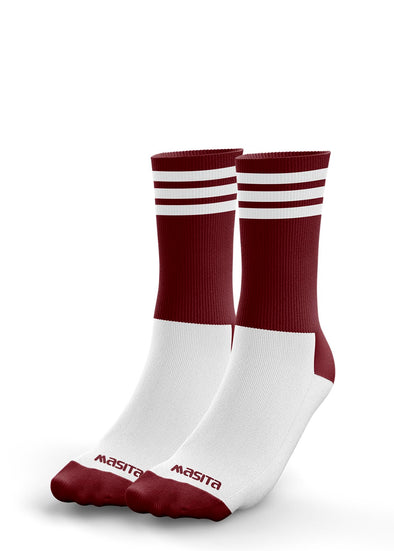 Maroon/White Midi Socks Adults