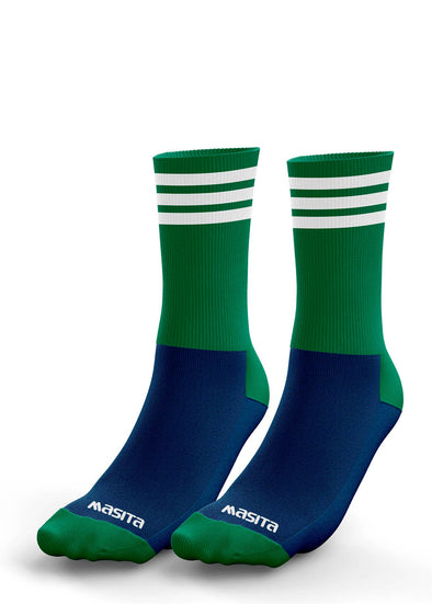 Navy/Green/White Midi Socks Adult