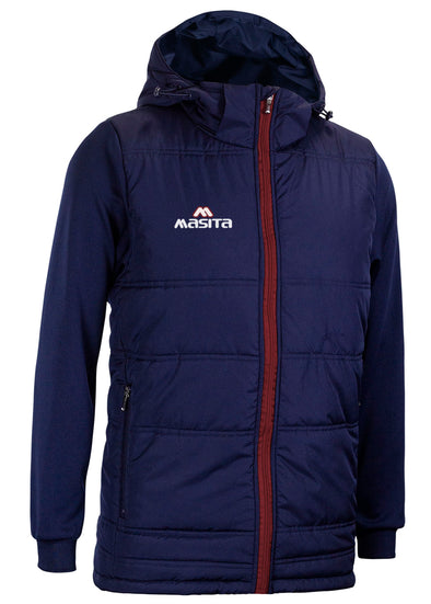 Nova Padded Jacket With Detachable Hood Navy/Maroon