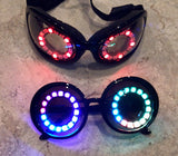LED Dust Goggles - Steampunk, rechargeable attention getters. Great for Burning Man Dust Storms