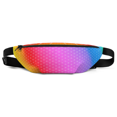 Fanny Pack - Rainbow Flower of Life - Great for Festivals and Adventures