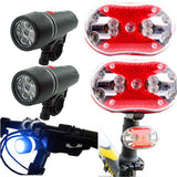 Bicycle Bike Cycling Lights | 5 LED' Head Light + 9 LED Rear Light