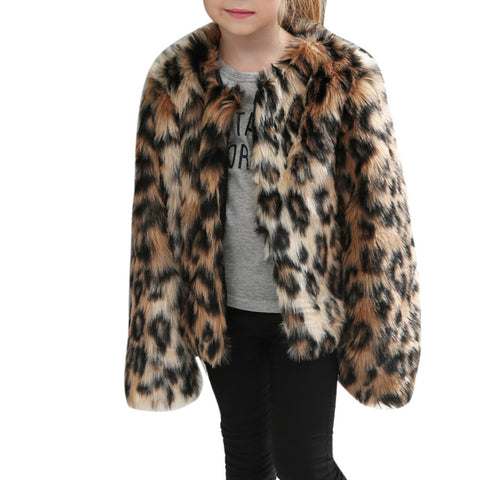 Children's Lovely Leopard Coat | Youth Faux Fur Coat