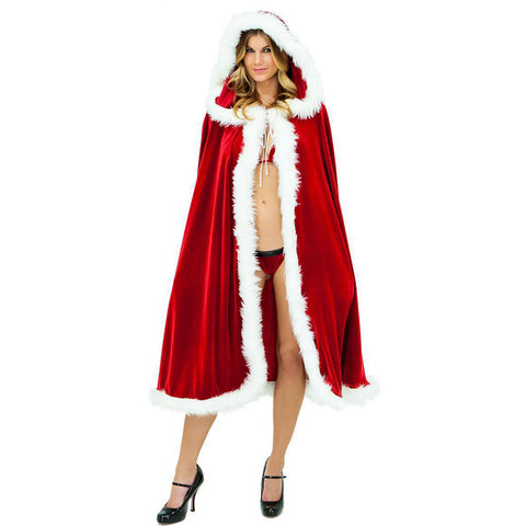 Red Velvet with White Fur Cape for Land of Enchantment | Hooded Fur Cloak