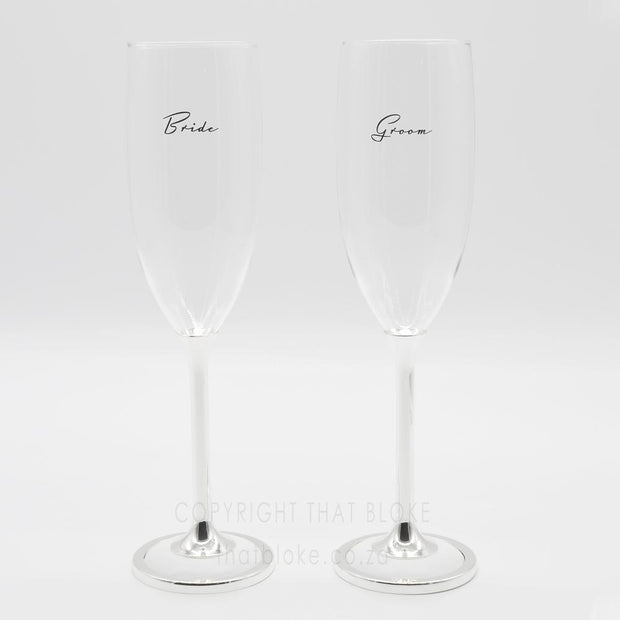 Champagne Glasses - Bride And Groom (Black Writing with White Base)