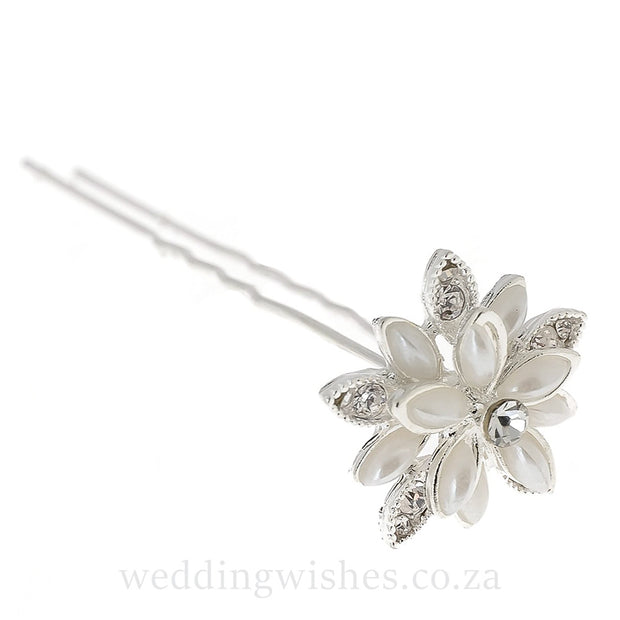 Wedding Water Lily Flower Hair Pin Silver Set Image Side View