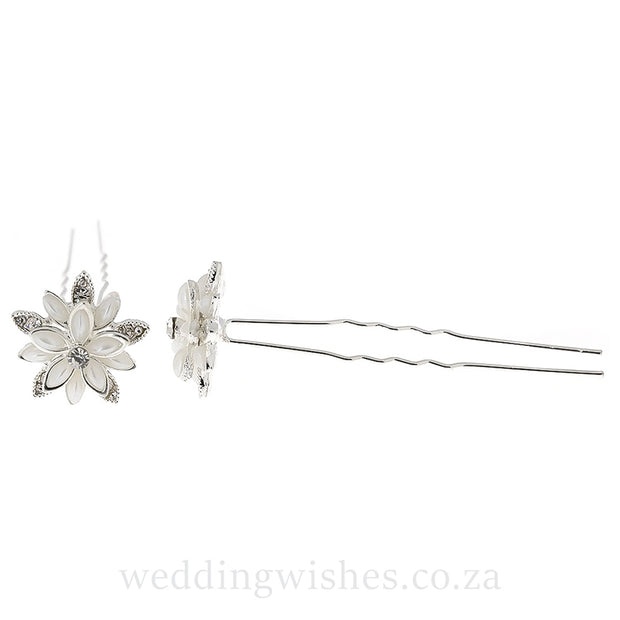 Wedding Water Lily Flower Hair Pin Silver Set Image Side and Front View