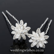 Wedding Water Lily Flower Hair Pin Silver Set Image Black Background