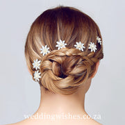 Water Lily Flower Hair Pin Silver Set Image On Brides Hair Wedding