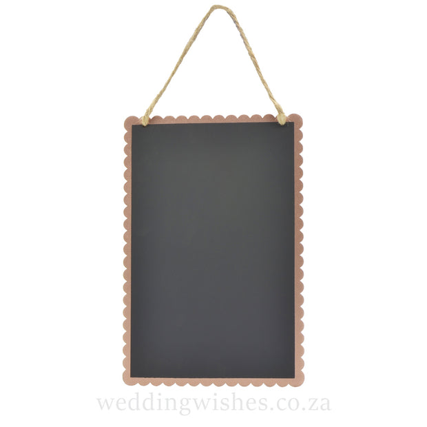 Hanging Wood Chalkboard Sign Rose Gold Wedding Small