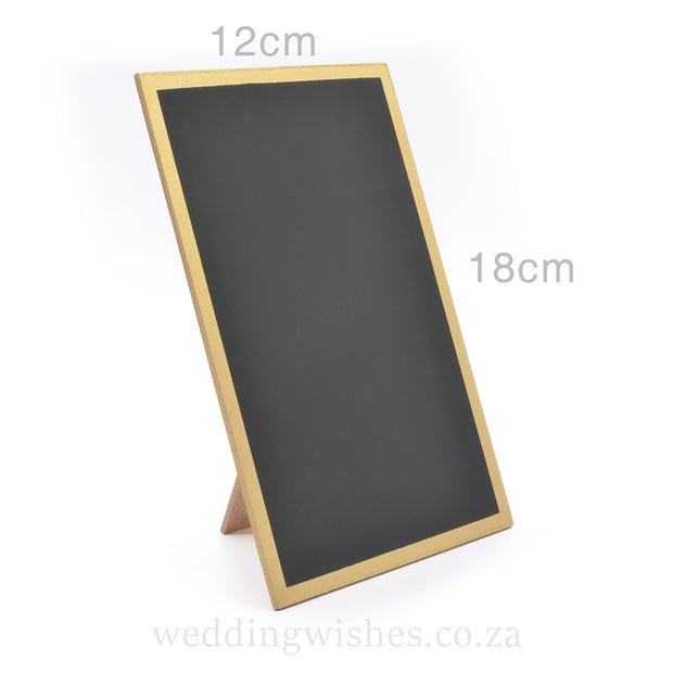 Gold Blank Chalkboard Frame Sign For Standing on Wedding Table with Dimensions