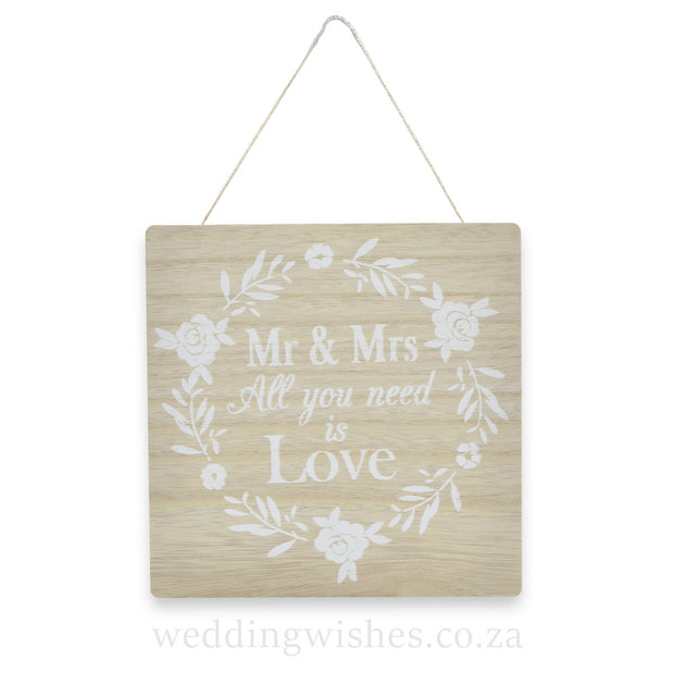 Wood Mr & Mrs Sign For Wedding All You Need Is Love