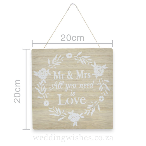 Wood Mr & Mrs Sign For Wedding All You Need Is Love With Dimensions