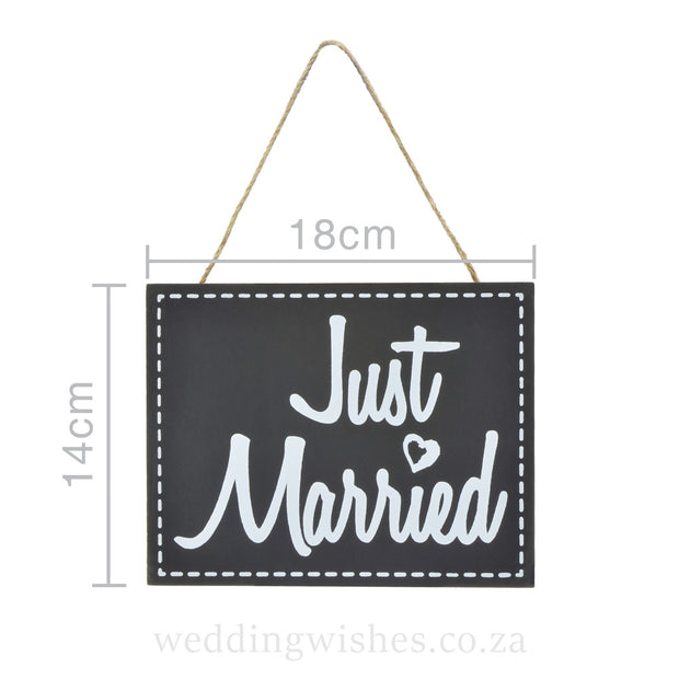 Hanging Wood Just Married Sign For Wedding Black With Dimensions