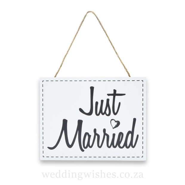 Hanging Wood Wedding Sign Just Married White