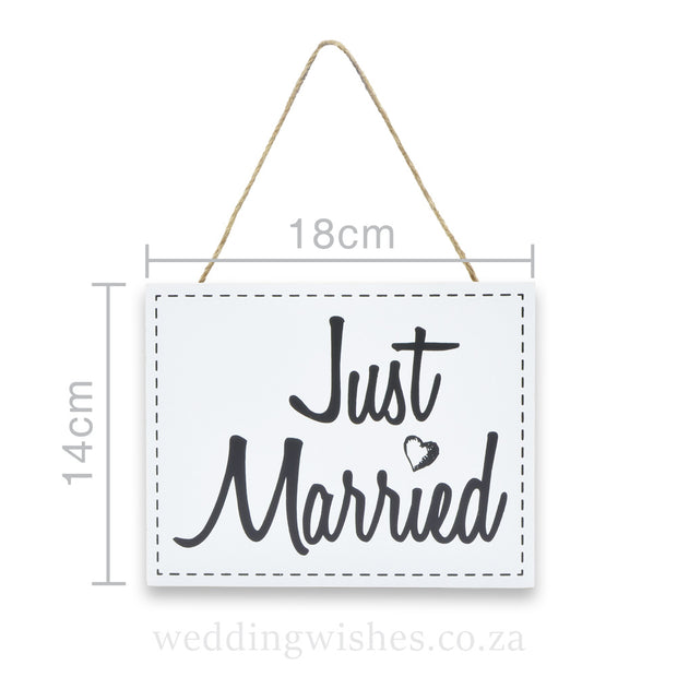 Hanging Wood Wedding Sign Just Married White With Dimensions