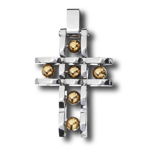Stainless Steel Cross Pendant with Gold IP Balls