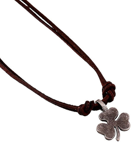 Hamoery Men Punk Alloy Leather Clover Chain Pendant Necklace (Silver)