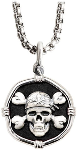 "Guy Harvey Pirate Skull Pendant Black Enamel Sterling Silver on 22"" Durable Necklace Chain"