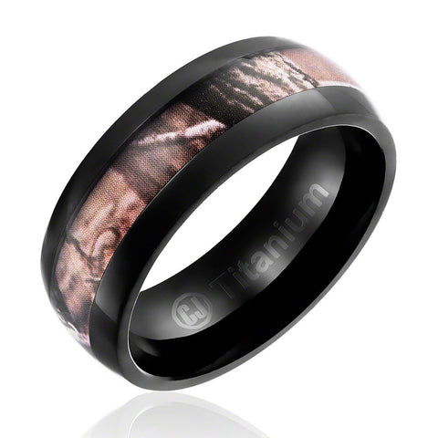 Mens Camo Wedding Band in Titanium 8MM Ring Black Plated with Camouflage Inlay - Domed Top