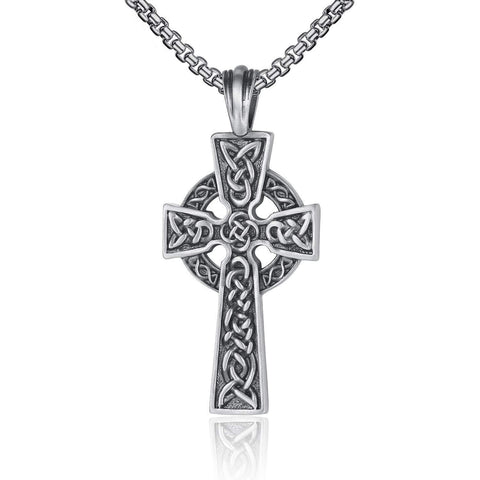 EVBEA Celtic Cross Necklace for Men Viking Irish Knot Serenity Prayer Pendant Crucifix Mens Jewelry with Black Genuine Leather Cord Chain Curb Link