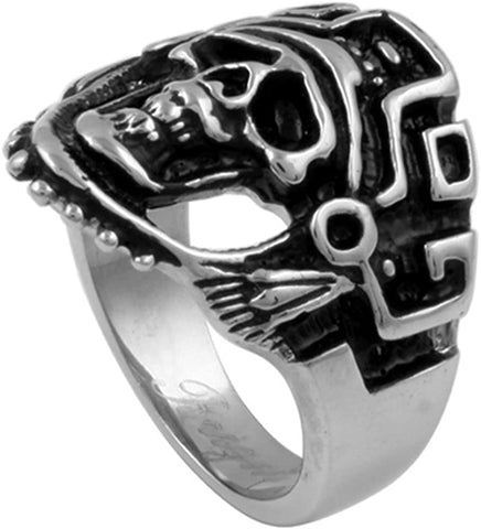 Double Accent 24MM Stainless Steel Oxidized Casting Aztec Skull Ring (Size 9 to 15)