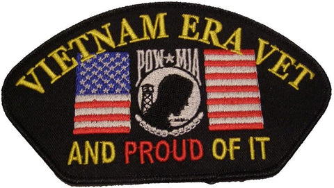 VIETNAM ERA VET AND PROUD OF IT with U.S. Flag and POW Shield Patch - Veteran Owned Business