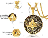 Men's Eye of Providence Pendant in Stainless Steel Mogen Star of David Wicca Amulet Talisman Necklace