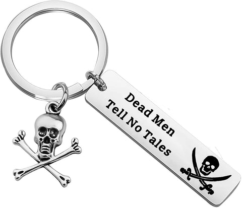 CENWA Pirate Gift Dead Men Tell No Tales Skull Crossbones Charm Keychain Pirate of Caribbean Inspired Gift for Pirate Lover Pirate Jewelry